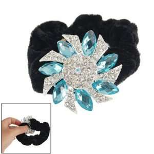 Tone Rhinestone Blue Crystal Accent Flower Hair Tie Band Beauty