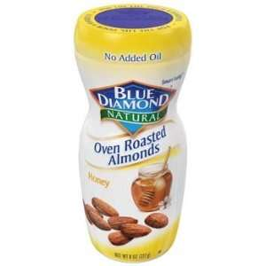 Blue Diamond Natural Oven Roasted Honey Almonds 8 oz (Pack of 6