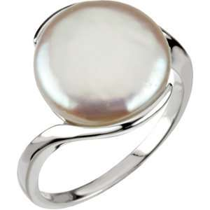 Sterling Silver Freshwater Cultured Coin Pearl Ring 13 14mm Size 8