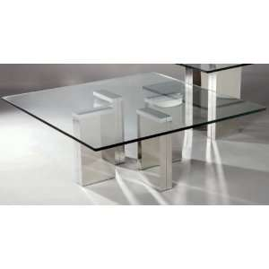 Square Glass Cocktail Table by Chintaly Imports   Stainless