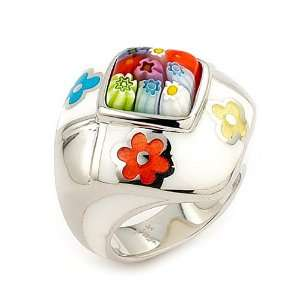 Millacreli Murano Glass White And Multi Color Square Ring