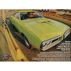 1970 Ad Green Dodge SUPER BEE Muscle Car Race Track
