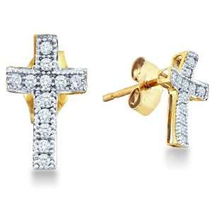 Tone Gold Cross Shape Pave Set Round Diamond Stud Earrings (1/10 cttw