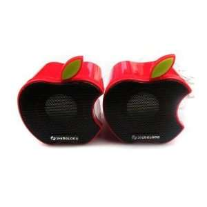 Cute Apple Shaped Portable USB Powered Speakers in Red
