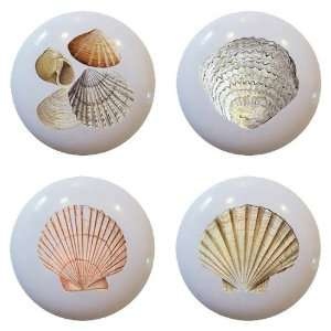 Set of 4 Sea Shells Ceramic Knobs Pull Kitchen Drawer