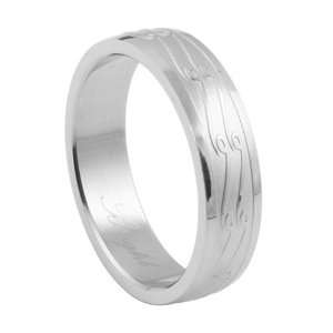 com 316L stainless steel ring with combination matte and shiny polish