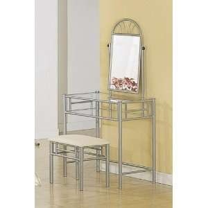Silver Metal Vanity Table Mirror Stool Bench Set Furniture & Decor