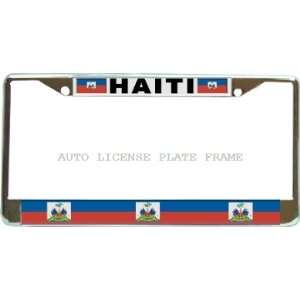 Haiti Haitian #2 Flag Chrome Metal Auto License Plate
