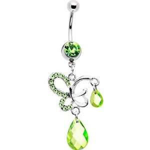 Peridot Green Gem Dream Butterfly Belly Ring Jewelry