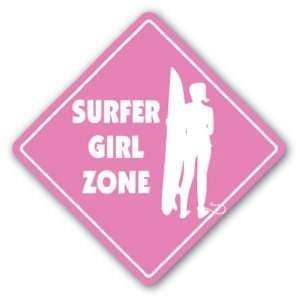 SURFER GIRL ZONE Sign xing gift novelty surfing lover surf board ocean