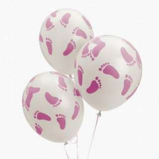 Girl PINK FOOTPRINT BALLOONS Feet Baby Shower Party Decorations
