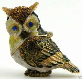 Bejeweled Bird Trinket Box   Great Horned Owl