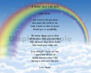 Gift For Sister Personalized Poem Birthday Or Christmas Gift Idea