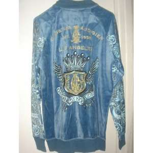 NEW Christian Audigier Ed Hardy Velour Men Track Jacket M