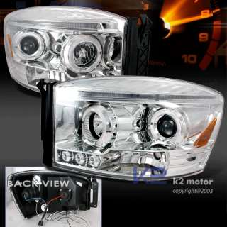 2006 2008 DODGE RAM HALO LED PROJECTOR HEADLIGHTS PAIR