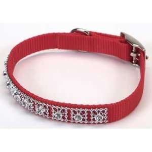 Jeweled Dog Collar   10 in. Red with Swarovski Crystal Jewels with a
