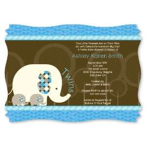 Twin Blue Baby Elephants   Personalized Baby Shower Invitations
